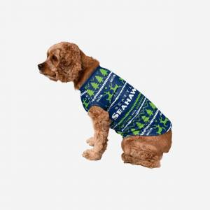 FOCO Seattle Seahawks Dog Family Holiday Sweater - L