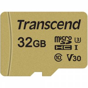 Transcend 32GB Transcend microSD 500S UHS-I V30 - Speed up to 95MB/sec - With SD Adapter