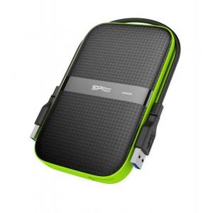 Silicon Power 2TB Silicon Power Armor A60 Shockproof Portable Hard Drive - USB3.0 - Black/Green Edition