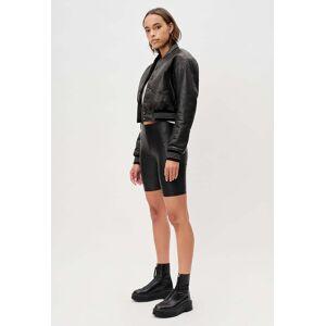 John Elliott - Women's Leather Cropped Stadium Jacket / Black (Leather Cropped Stadium Jacket / Black / 1 / Small)