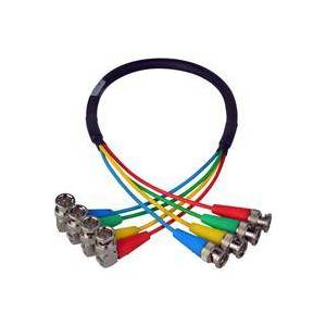 """Laird 18"""" 4-Channel 6G/12G (2k/4k) HD-SDI Right Angle BNC to Kings BNC Video Cable for AJA CION Camera"""