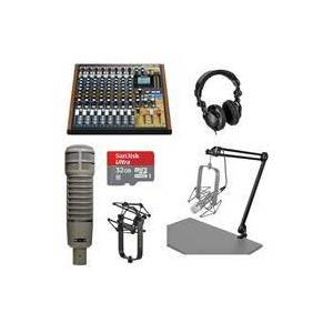 Tascam Model 12 Integrated Production Suite Mixer/Recorder/USB Interface - Electro Voice RE20 - 32GB Micro SD Card - Studio Monitor Headphones - Broadcast Arm with XLR Cable - Shock Mount