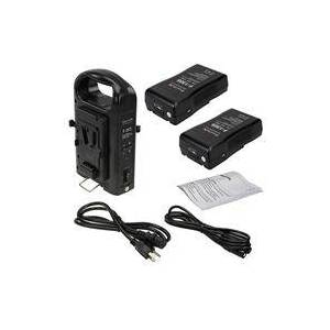 Fotodiox Dual Position Battery Charger Kit with Two 14.8V 130Wh Li-Ion V-Mount Batteries