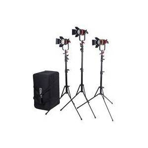 Came-TV Boltzen Q-Series 55W High Output Fresnel Focusable Daylight LED 3-Light Kit with 3x Light Stands and Case