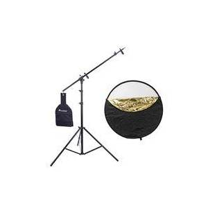 """Westcott Photo Basics 40"""" 5-in-1 Collapsible Reflector with Case - Bundle With Flashpoint 11.5' 5-Section Super Light Stand/Boom Extension/Reflector Holder Arm"""