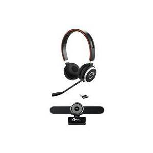 Jabra Evolve 65 UC Stereo Bluetooth Headset with USB Adapter - With Green Extreme V4K All In One 4K UHD Conference Webcam