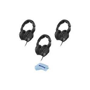 Sennheiser 3 Pack HD 280 PRO Closed Around-the-Ear Monitoring Headphones - With Microfiber Cloth