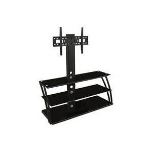 """Mount-It! Professional XL Entertainment Center Stand with Bracket and 3 Glass Curved Shelves for 32-60"""" TVs"""