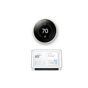 "Google Nest Nest Learning Thermostat White Bundle with 7"" Touchscreen Nest Hub Charcoal"
