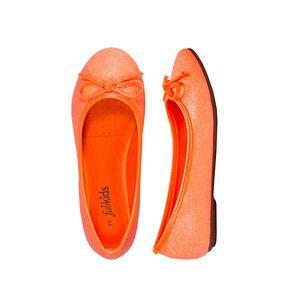 FabKids Shoes Fab Glitter Flat Girls Orange Size T8