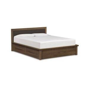 Copeland Furniture Moduluxe 35-Inch Storage Bed with Leather Headboard - Color: Brown - Size: Queen - 1-MPD-32-04-STOR-3314