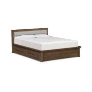 Copeland Furniture Moduluxe 35-Inch Storage Bed with Leather Headboard - Color: White - Size: Queen - 1-MPD-32-04-STOR-3316
