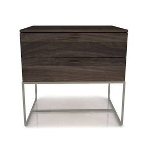 Huppe Linea 2 Drawer Night Stand with Steel Base - Color: Grey - 2344M-519-352