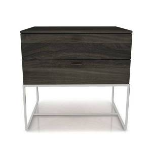 Huppe Linea 2 Drawer Night Stand with Steel Base - Color: Grey - 2344M-511-331