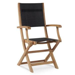 HiTeak Furniture Stella Outdoor Folding Armchair - Color: Black - HLAC435-B