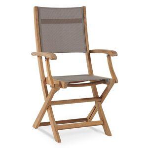 HiTeak Furniture Stella Outdoor Folding Armchair - Color: Brown - HLAC435-T