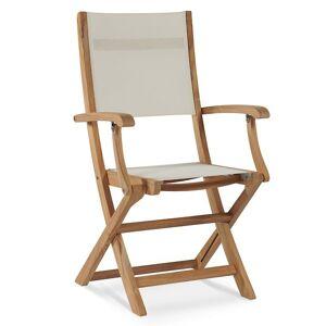 HiTeak Furniture Stella Outdoor Folding Armchair - Color: White - HLAC435-W