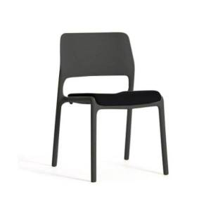 Knoll Spark Stacking Side Chair with Seat Cushion - Color: Black - 4-C-SD-S-06-K1000-14 - Knoll Authorized Retailer