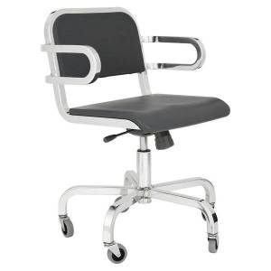 Emeco Nine-0 Swivel Armchair - Soft Back - Color: Grey - NIN0SWV SAP GRAY