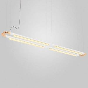 ANDlight Pipeline CM7 LED Linear Chandelier - Color: Copper - Size: 4 light - PIP-CM7-P-CP-WH-30-MLV-120