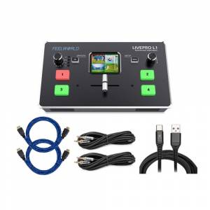 FeelWorld LIVEPRO L1 Multicamera Video Switcher w/ HDMI Inputs and USB Streaming bundle