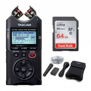 Tascam DR-40X Four-Track USB Audio Interface with 64GB Memory Card and Recording Accessory Bundle