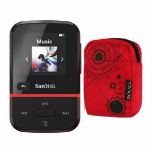 SanDisk 32GB Clip Sport Go Wearable MP3 Player (Red) Bundle