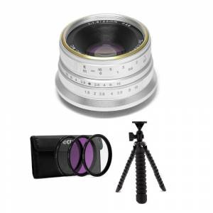 """7artisans Photoelectric 25mm f/1.8 Lens for Fujifilm X (Silver) with 3-PieceFilter Kit & 12"""" Spider Tripod"""