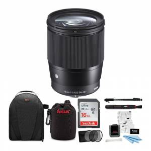 Sigma 16mm f/1.4 DC DN Contemporary Lens for Sony with 16GB SD Card and Accessory Bundle