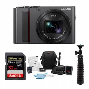Panasonic LUMIX ZS200 4K Digital Camera (Silver) with 32GB Memory Card and Accessory Bundle