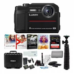 Panasonic LUMIX TS7 Waterproof Tough Digital Camera (Black) Ultimate Bundle