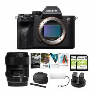 Sony Alpha a7R IV Mirrorless Digital Camera Body with Sigma 35mm f/1.4 Lens and Software Suite Bundle