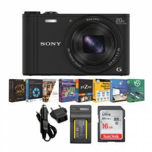 Sony DSC-WX350 18MP Digital Camera (Black) with 16GB Memory Card and Accessory Bundle