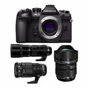 Olympus OM-D E-M1 Mark II Mirrorless Camera with M.Zuiko 7-14mm, 40-150mm, and 300mm PRO Lens Bundle