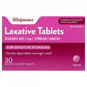 Walgreens Women's Stimulant Laxative Bisacodyl Enteric Coated Tablets, 5 mg, 30 Count
