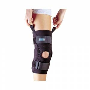 Weber Hely & Weber 3655 Axis Hinged Knee Sleeve, Pull Up Loops Aid In Application, Large: 15 Inches By 17 Inches, Black