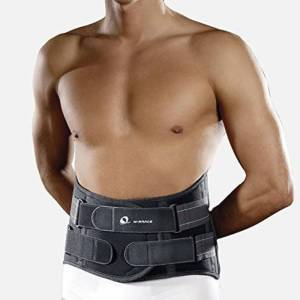 M-Brace Mini Lumblock Lumbar Sacral Breathable Non-allergenic 100% Cotton Brace for Back, 3X-Large: 140+ cm, Dark Grey