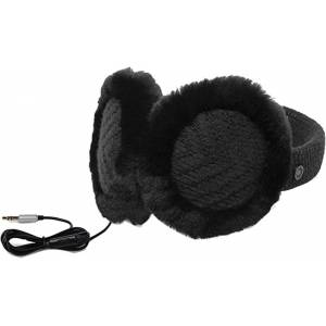 UGG Women's Textured Wired Knit Earmuff with Functional Headphones and Plug-In Aux Cord, One Size, Black