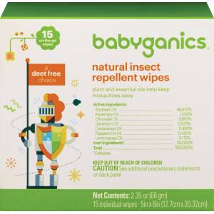 Babyganics Natural Insect Repellent Wipes, a Deet Free Choice, Wipe Dimensions: 5 Inches x 8 Inches, 15 Count