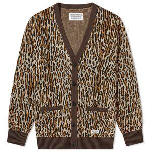Wacko Maria Leopard Jacquard Cardigan  Beige