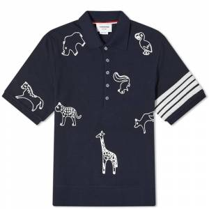 Thom Browne All Over Embroidery 4 Bar Polo  Navy