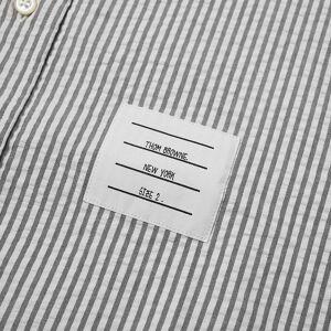 Thom Browne Short Sleeve Grosgrain Cuff Button Down Shirt  Medium Grey