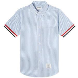 Thom Browne Short Sleeve Grosgrain Cuff Button Down Shirt  Blue