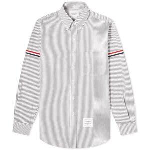 Thom Browne Tricolour Grosgrain Armband Seersucker Shirt  Medium Grey