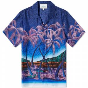 Casablanca Nuit A Maui Short Sleeve Silk Shirt  Midnight