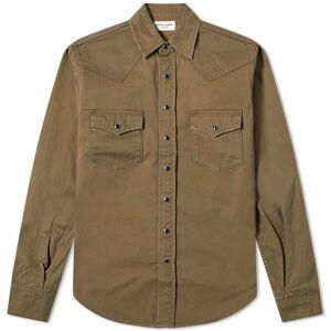 Saint Laurent Damaged Western Shirt  Khaki