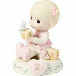 Precious Moments Bisque Porcelain Figurine, Growing In Grace, Age 2, Blonde Girl