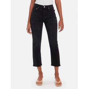 AGOLDE Riley High Rise Straight Crop Jeans  - Black
