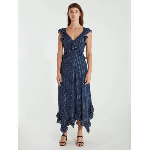 ICONS Objects of Devotion The Day Ruffle Midi Dress - L - Also in: S, M, XS  - Blue