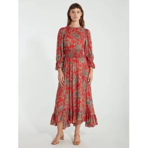ICONS Objects of Devotion The Long Peasant Midi Dress - XS - Also in: L, M  - Red